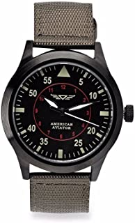 American Aviator ASOTV Men's Quartz Metal and Nylon Casual Watch Green Band