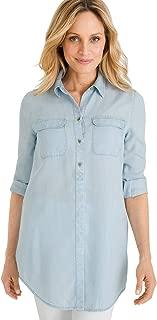 Women's Basic Denim Medium-Wash Shirt Denim