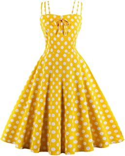 Killreal Women's Vintage Spaghetti Strap Polka Dot Printed Cocktail Party Dress