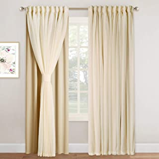 NICETOWN 2 Layers Drape Mix & Match Elegance Home Decor Window Treatment Drape Biscotti Beige Crinkled Voile and Blackout Curtain Panel with Free Tie-Backs (1 Piece 2-Layer Panel, 84 inches Long)
