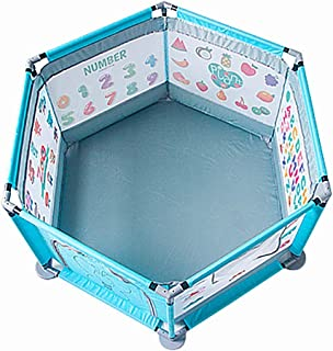 Playpen Baby Playard Safety Kids Play Pens 6 Panel Security Game Fence Activity Center for Infants - 65x140cm- Blue