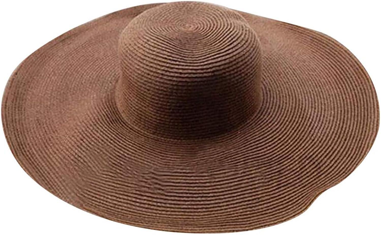 NEWONESUN Women Solid color Big Brim Straw Hat Sun Floppy Wide Brim Hats Beach Cap (Coffee)