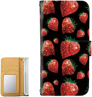 [FFANY] HUAWEI nova lite 3 (POT-LX2J) ケース 手帳型 ミラータイプ 【ストロベリー:ブラック】 苺 strawberry 水彩画 フルーツ ノバライトスリー スマホケース 携帯カバー strawberry-190514m