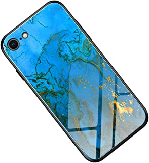Suhctuptx Compatible for iPhone 6/6S 4.7inch Case Clear Hard Tempered Glass Back Skin Protector Glitter Bling Slim Thin Soft TPU Silicone Bumper Shockproof Protection Cover Girls(Marvel Blue)