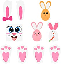 Amosfun Easter Bunny Prints Stickers Bunny Paw Set with Egg Bunny Face Stickers Kids Party Favors Children Garden Egg Hunt Game