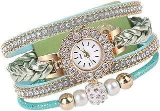 Women Watch,WEUIE Women's Vintage Weave Rhinestone Chain Quartz Bracelet Wrist Watches Womens Wristwatch