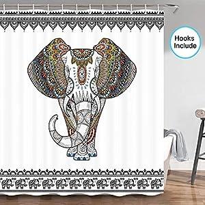 JAWO Elephant Shower Curtain, Ethnic Indian Mandala Floral Paisley Sacred Animal Head Hippie Southwestern Aztec Vintage African Tribal Bath Curtain Decor, Fabric Shower Curtain Hooks Include?70 in