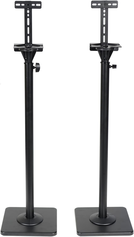 VideoSecu One Pair Height Adjustable Speaker Stands Mounts Heavy Duty Floor Stands Surround Sound Satellite Small Bookshelf Speakers Stand MS08B DA8