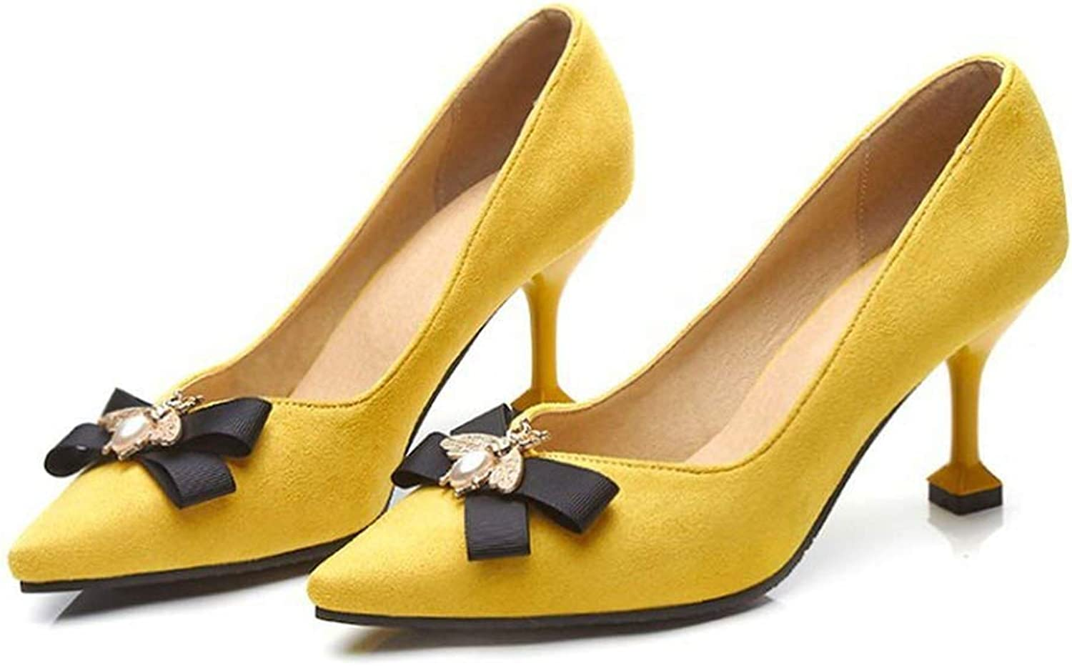 Yellow Black Stiletto Women shoes Pointed Toe Ladies Pumps Bee Bowknot High Heels Dress shoes