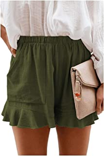Comaba Women's Casual Loose Beach Pockets High Waisted Shorts