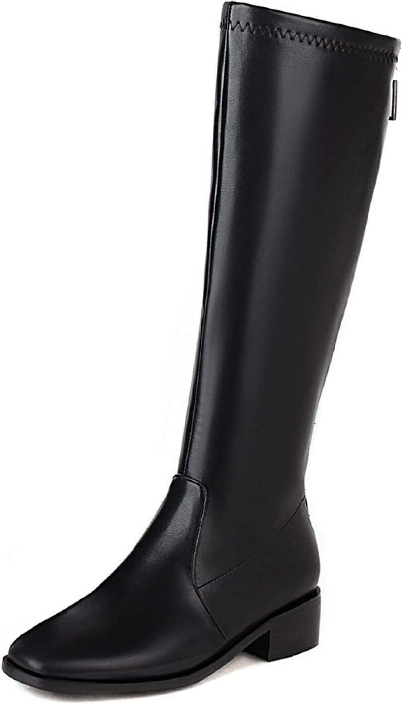 High Heels for Women Womens Stacked Low Heel Knee High Riding Boots Fashion Square Toe Back Zipper Winter Warm Fur Tall Boots (Color : Black, Size : 15)