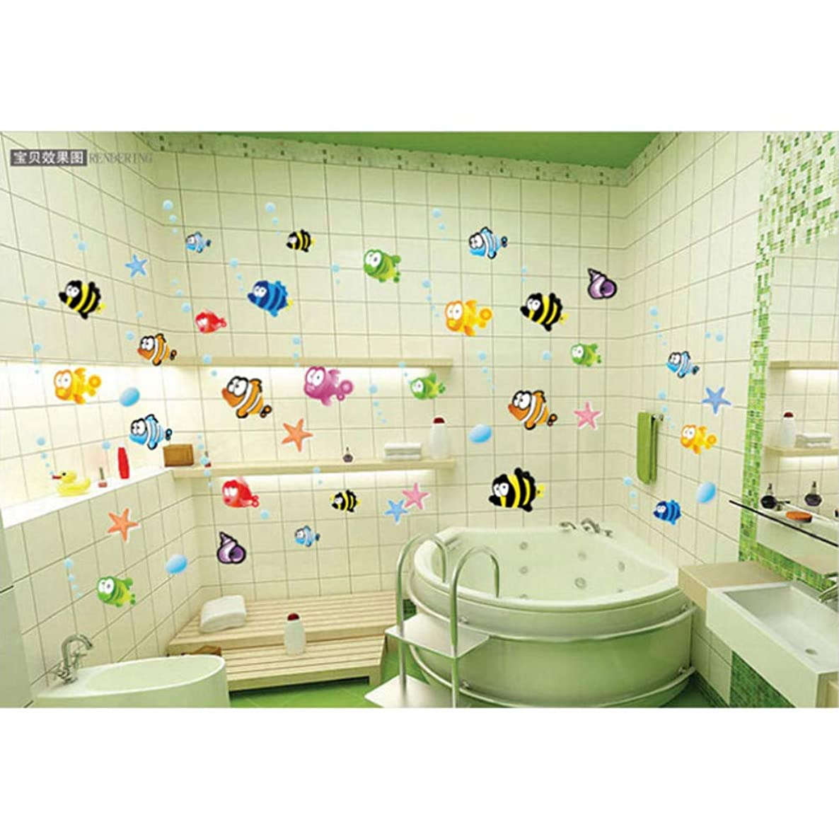 ajhsuwn New 45×60cm Removable Baby Bathroom Stickers Cartoon Vinyl Art Kids Home Decor Mural Fishing Ocean Sea Fish Wall Sticker Decal