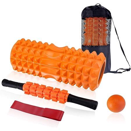 VOLADOR Rodillo de Espuma, Foam Roller Kit con Rodillos de Espuma, Roller Stick, Bola de Masaje, Bandas Elasticas Fitness, Rodillo Masaje Muscular Relajan Músculos Rígidos y Adoloridos