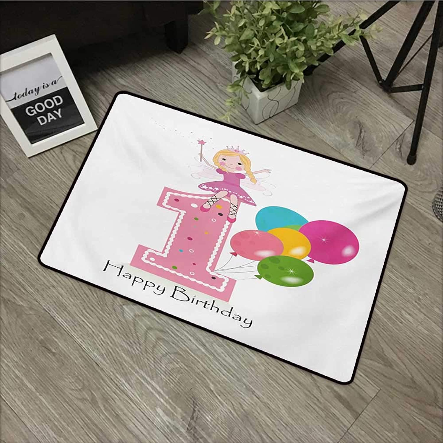 Pool Anti-Slip Door mat W35 x L47 INCH 1st Birthday,Princess Fairy Party Theme with Best Wishes Pink Wand and Balloons,Pale Pink and purplec Non-Slip Door Mat Carpet