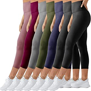 TNNZEET High Waist Leggings Opaque Slim Regular & Plus Size Women 7 Length Elastic Buttery Soft Classic Yoga Pants