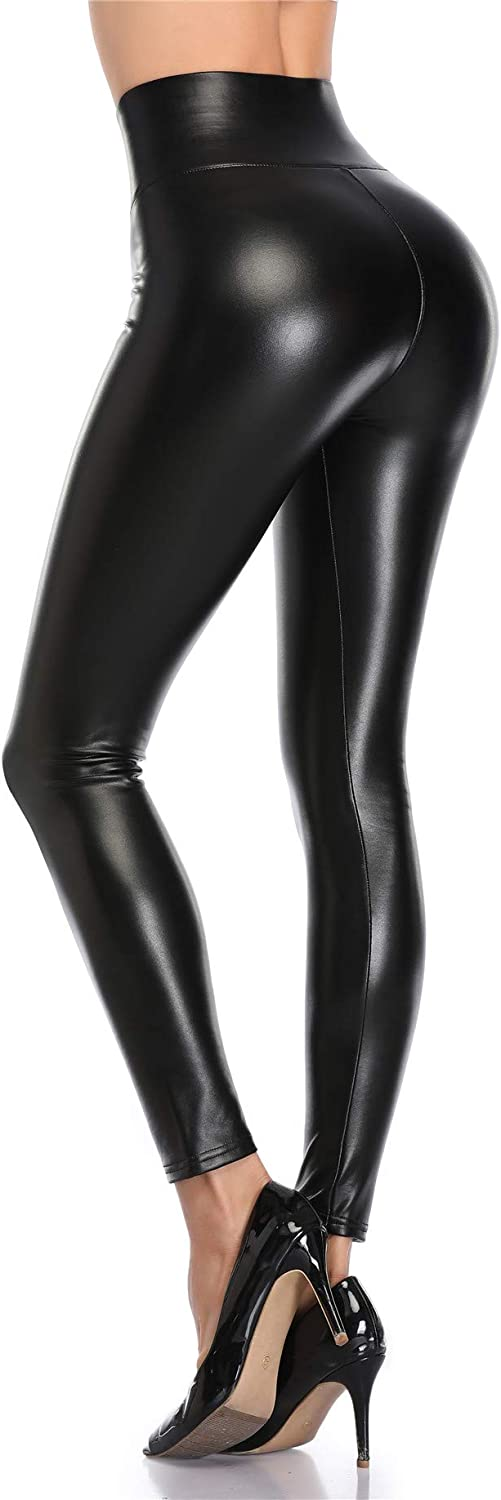 VOGUEMAX Women's Faux Leather Max 82% OFF Leggings Waist Beauty products Black Sexy Ful High