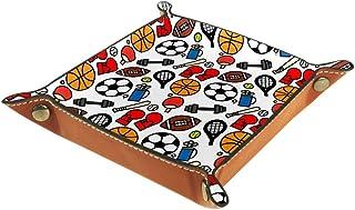 BestIdeas Panier de rangement carré 20,5 × 20,5 cm, avec motif balle de sport colorée, boîte de rangement sur table pour m...