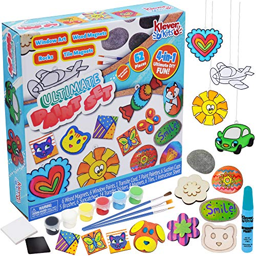 JOYIN Klever Kits Creativity Arts & Crafts Paint Kit - Rock Painting, Window Art Painting, Mini Tile and Wooden Magnets for Kids Easter Paint Gift, Birthday Parties and Family Crafts62-Piece