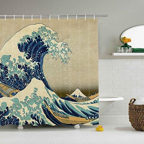 Pknoclan Great Wave Kanagawa Duschvorhang Mount Fuji Duschvorhang mit 12 Haken, Ocean Waves Wasserdichter Stoff Duschvorhang für Badezimmer Dekoration