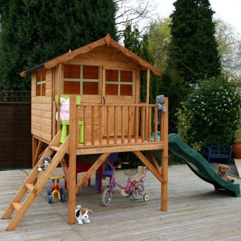 Walton's 7' x 5' Honeypot Poppy Tower Playhouse with Slide