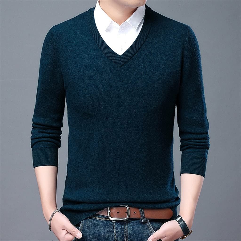 SKREOJF Jumper Autum V Neck Knit Chunky Knitted Pullover Sweater Men Winter Clothes (Color : Blue, Size : XXL CODE)