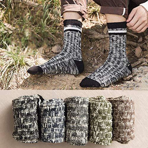 YUEG Men's Crew Cushion Socks Dress Socks Cotton Moisture Wicking Quarter Socks for Running Workout Work Autumn Winter Retro Trend 5 Pairs Multipack