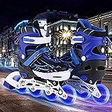 Hiriyt Rollers Patins à roulettes à Taille Réglable pour Enfants/Adolescents/Adultes Luminous Roues LED illuminées Rollers (Bleu, EU 31-34)