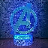 Niños luz de la noche Marvel leyendas 3D ilusión óptica Lam 16 cambio de color lámpara de mesa USB Power Touch remoto acrílico flash bebé niño sueño mejor regalo de Navidad juguete