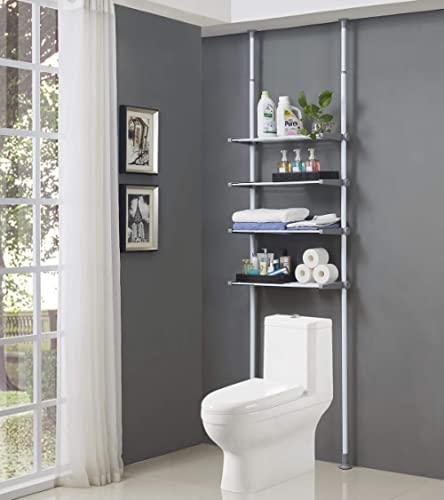 ALLZONE 4 Tier Over Commode Shelving, Over The Toilet Storage Rack, No Drilling, Easy to Assemble, Height and Width A...