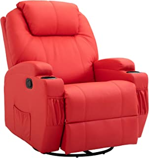HomCom Faux Leather Heated Massage Recliner Chair with Remote - Bright Red