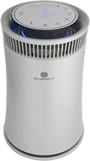 SilverOnyx Air Purifier for Home Large Room with True HEPA Filter, Air Quality Monitor, UVC Sanitizer, Ionizer, Home Air Cleaner for Allergies, Pets, Smoke, Dust, Mold. Carbon Filter 500 sq ft Silver