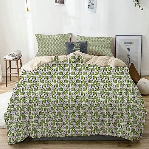 Juego de funda nórdica beige, adorno botánico de hojas, hierbas de primavera, plantas de jardinería orgánicas, patrón abstracto, juego de cama decorativo de 3 piezas con 2 fundas de almohada, fácil cu