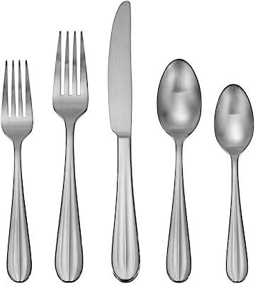 Oneida Satin Casson 20 Piece Everyday Flatware, Service for 4 18/0 Stainless Steel, Silverware Set