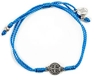 My Saint My Hero Breathe Blessing Bracelet - Silver-Plated Medal on Blue Hand-Woven Cord