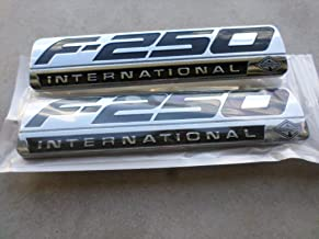 Truck Emblem Warehouse 2 New (Pair) Set Custom Chrome F250 Powerstroke Ford International Fender Badges Emblems