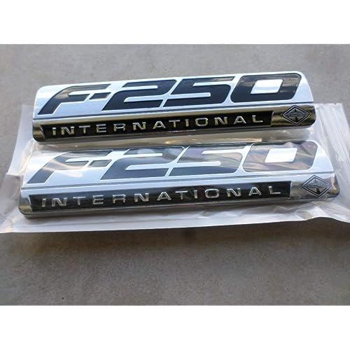 Truck Emblem Warehouse 2 New Pair Set Custom Matte Black /& White F250 Powerstroke International Fender Badges Emblems