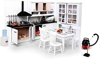 European 1:12 Dollhouse Furniture Table Chairs & Luxury Kitchen Cabinet & Bookcase Decoration, Mini Model Collection, Wooden