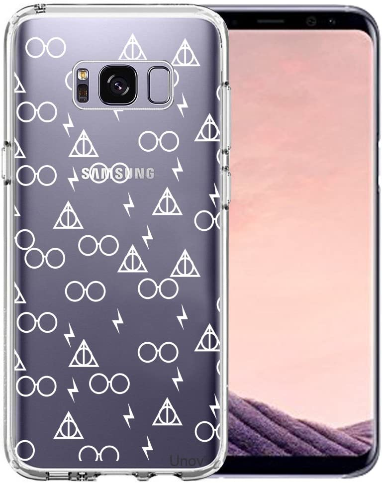 Unov Case Compatible with Galaxy S8 Clear with Design Soft TPU Shock Absorption Slim Embossed Pattern Protective Back Cover (Death Hallows)