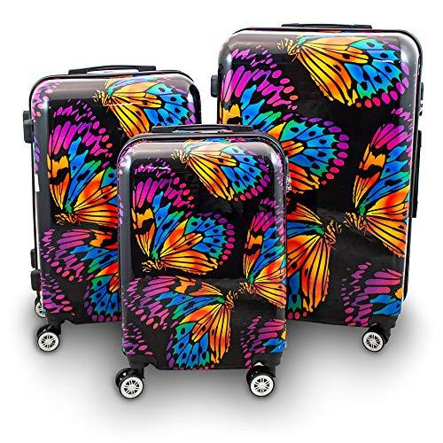 BERWIN® Design Koffer Reisekoffer Trolley Hartschalenkoffer Polycarbonat mit 4 Rollen als Set (Butterfly Schwarz, 3er Set (M/L/XL))
