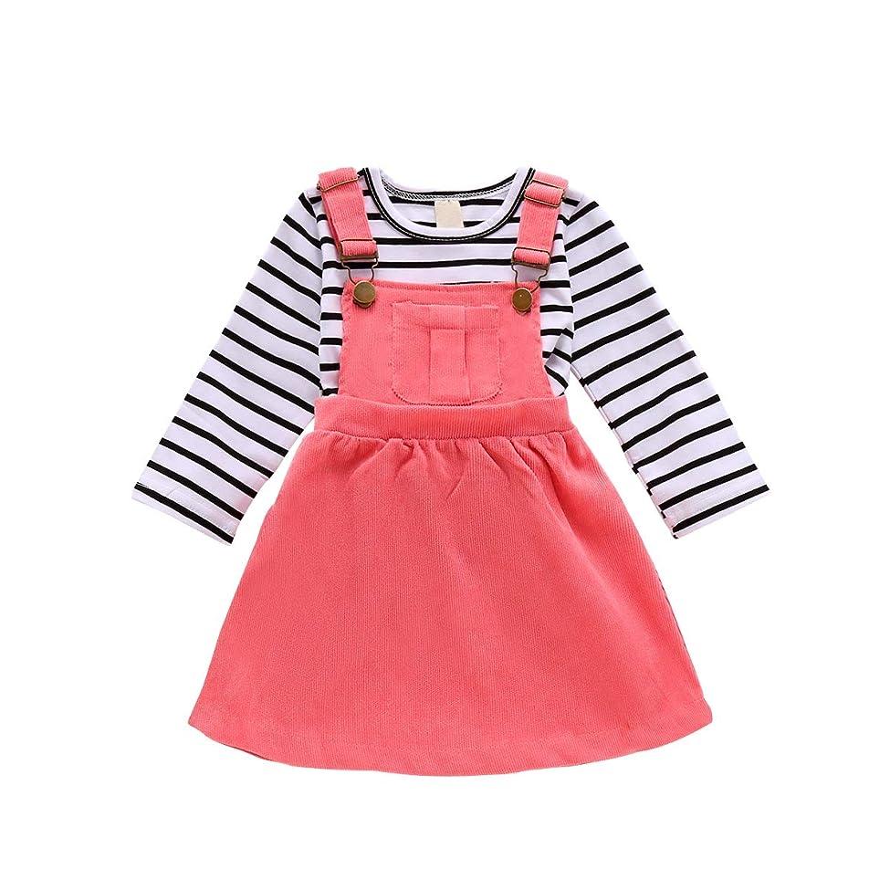 ソロリス協定幼児 赤ちゃん 女の子用 スカートセット ホルターネック ベスト トップス + サスペンダースカート 2ピース 秋冬服 US サイズ: 12-18 Months カラー: ピンク