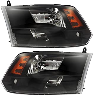 Partsam Replacement for Dodge Ram 1500 2500 3500 Headlight Headlamps Assembly 09 10 11 12 13 14 15 16 17 18 Pickup Quad Black Housing Amber Reflector Daytime Running Lamps (Passenger and Driver Side)