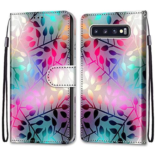 Ougger Funda para Samsung Galaxy S10+ / SM-G975F Funda Cuero, Soporte Plegable/Ranuras para Tarjetas y Billetes/Acceso a Botones, Funda Libro para Galaxy S10+ (Hoja Colorida)