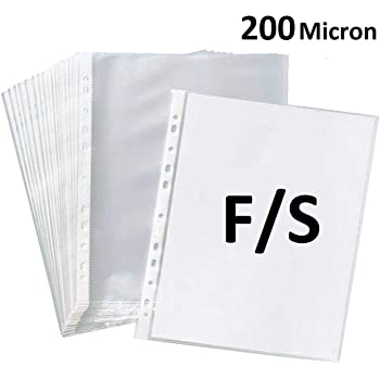 True-Ally 50 Pcs Transparent Document Sleeves, Leaf Sheet Clear Certificates/Waterproof Sheet Protectors 11 Holes Punched Ring Files Folder (FS Size) (50 Sheets - 200 Micron)