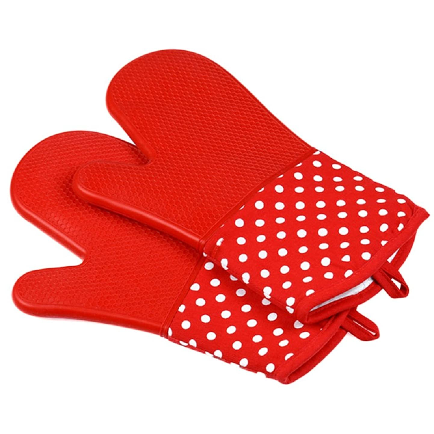 摂氏ラケット申し立てられたOUYOU 耐熱グローブ シリコンチェック 耐熱温度300℃ キッチングローブ オーブンミトン シリコン手袋 滑り止め クッキング用 フリーサイズ 2個セット