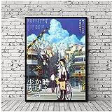 SDGW La Chica Que Saltó A Través del Tiempo Japón Anime Pintura Póster Impresiones Lienzo Cuadro De Pared para La Decoración De La Habitación del Hogar-50X70Cm Sin Marco