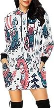 Dragon Design Women's Long Sleeve Hoodie Mini Dress