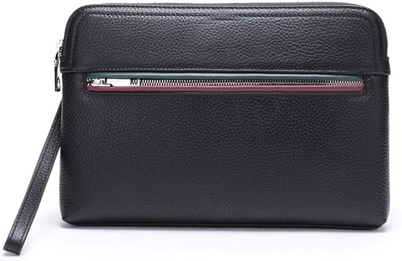 PFSYR Men's Clutch Leather Men's Clutch Business Men's Handbag Large Capacity Bag Leisure Bag Black