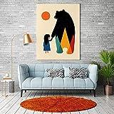 KWzEQ Cartel nórdico Dibujos Animados Gorila Oso Lienzo Pintura Chica Arte de la Pared decoración Moderna cálida,Pintura sin Marco,40X60cm