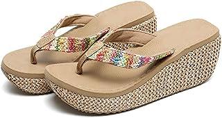 AUCDK Women Flip Flops Boho Style Wedge Heel Clip Toe Sandals Platform Thongs Sandals Summer Beach Shoes