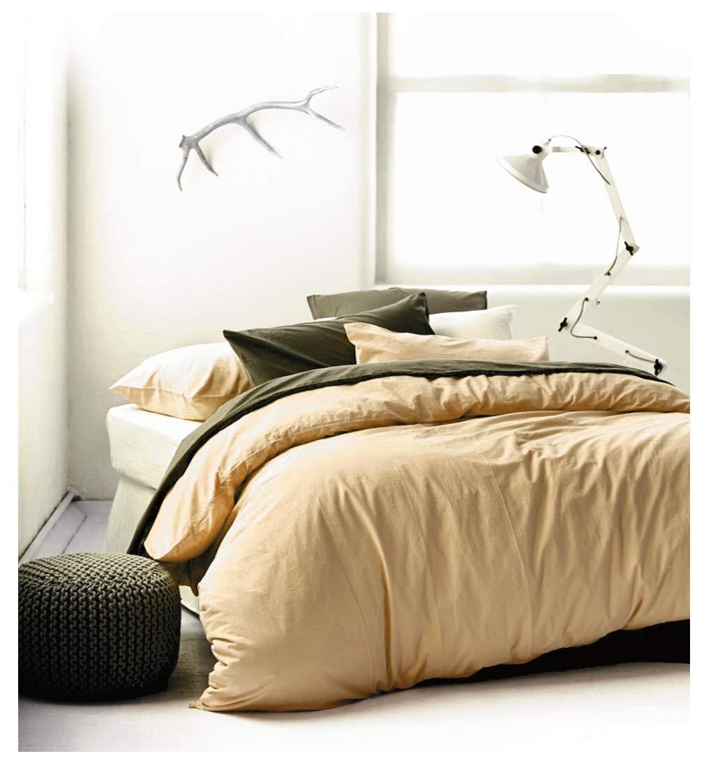 Eikei 水洗棉布条纹被套纯色休闲现代风格床上用品套装休闲柔软触感天然褶皱外观 Honey Wheat Queen
